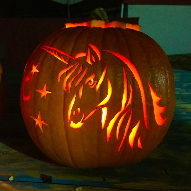 Unicorn pumpkin carving