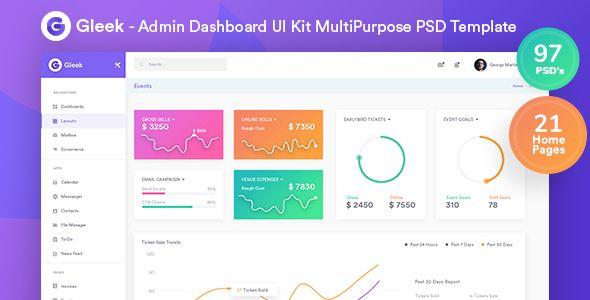 Gleek — Admin Dashboard UI Kit MultiPurpose PSD Template | Stylelib