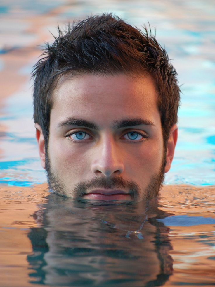 Handsome Bearded Young Man with Aqua Eyes