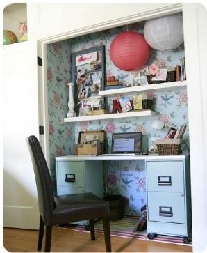 Closet turned desk nook