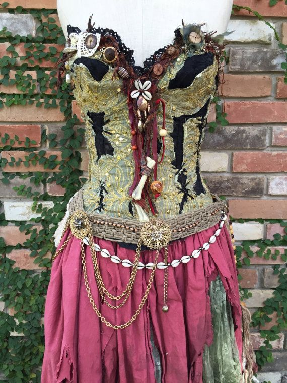 This listing consists of an entire five piece, one-of-a-kind, handmade, womens Voodoo Priestess Costume. This will be my only womens costume I list