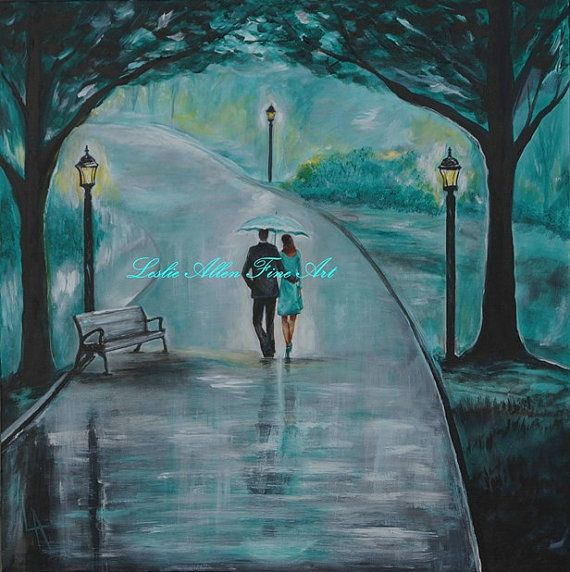 Original Acrylic Painting Couple Romantic Walk Couples Kissing Raining Rain Under Umbrella Hugging LOVE Park Leslie Allen Fine Art via Etsy