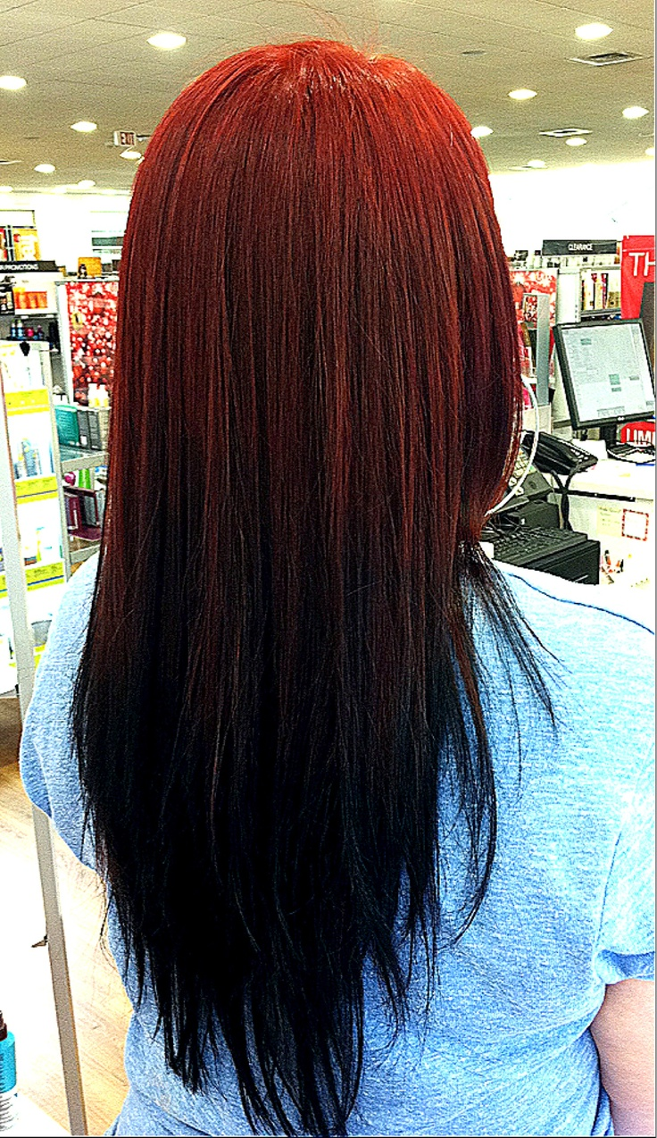 Reverse Ombr 233 Red To Black Fade Hair Reverse Ombre Hair Black Hair Ombre Faded Hair