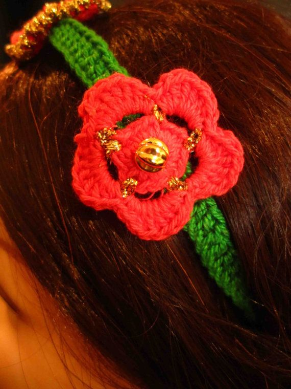 Headband with red and gold crochet flowers and leaves by WhiteBea, $10.00
