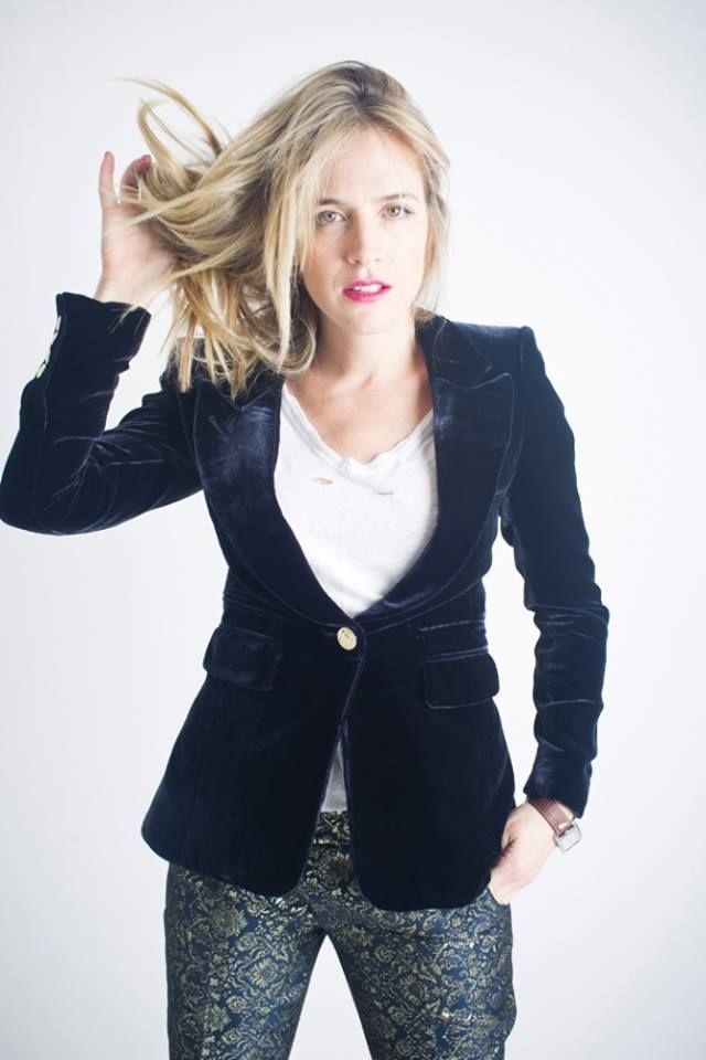 smythe velvet lapel blazer in sapphire #schadboutique