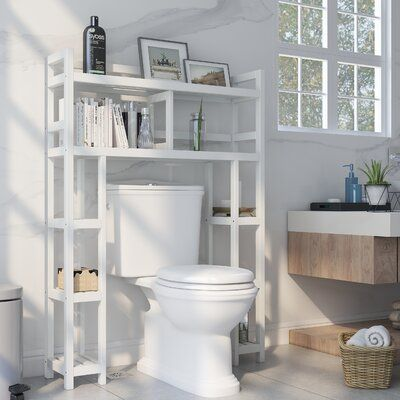 Three Posts Bernardston 34.46″ W x 48″ H Wood Bathroom Shelf Finish:   – Ideas for the house