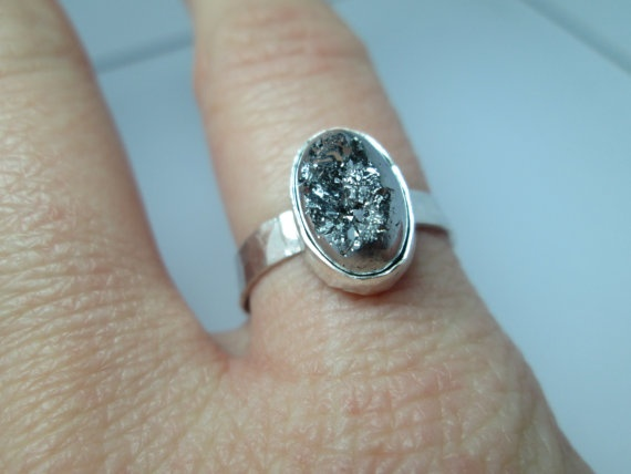 Silver Druzy Hammered Silver Ring Handforged by palilicium on Etsy, $65.00  #jewellery #engagement #bridal #engagement ring #bride #jewelry #ring #etsy #rings #silver #handforged sterling silver ring #handforged sterling silver rings #handforged silver ring #gemstone #gemstones #sterling silver #fashion #jewels #gems #metalwork #hand-forged #handforged  #palilicium #stacking rings #silver druzy #druzy ring #silver druzy ring #silver agate druzy
