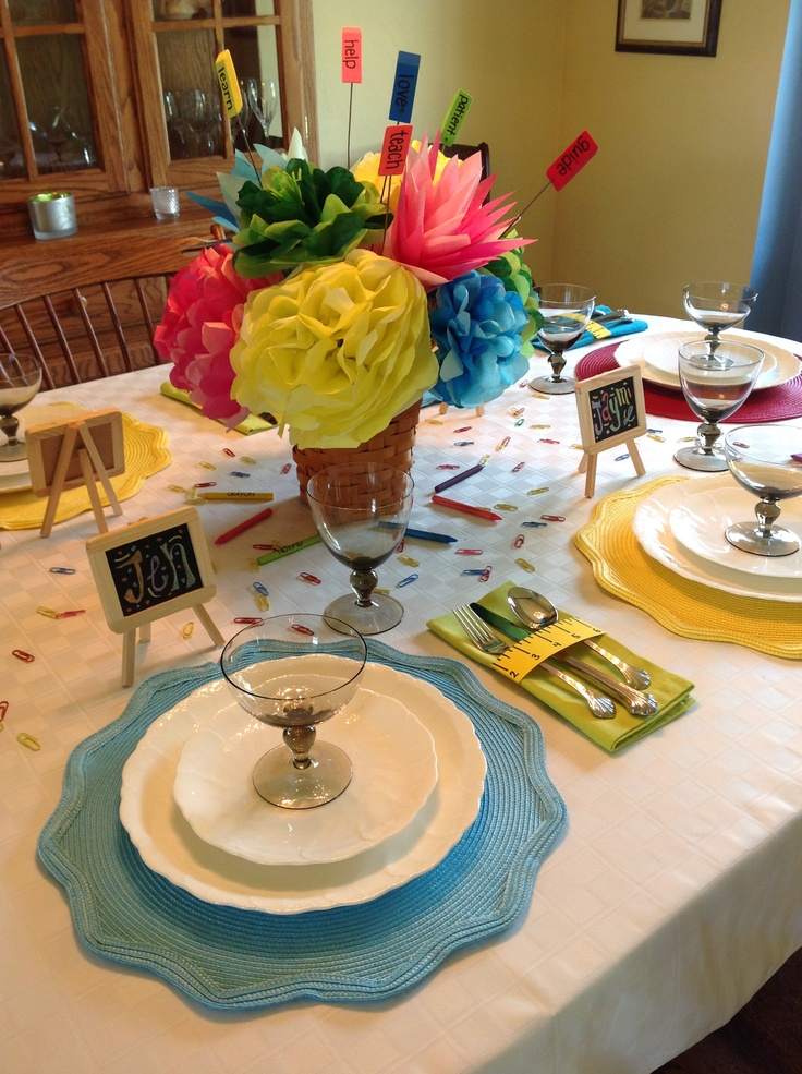 Teacher luncheon table decor grandma 39 s luncheon for Lunch decoration ideas