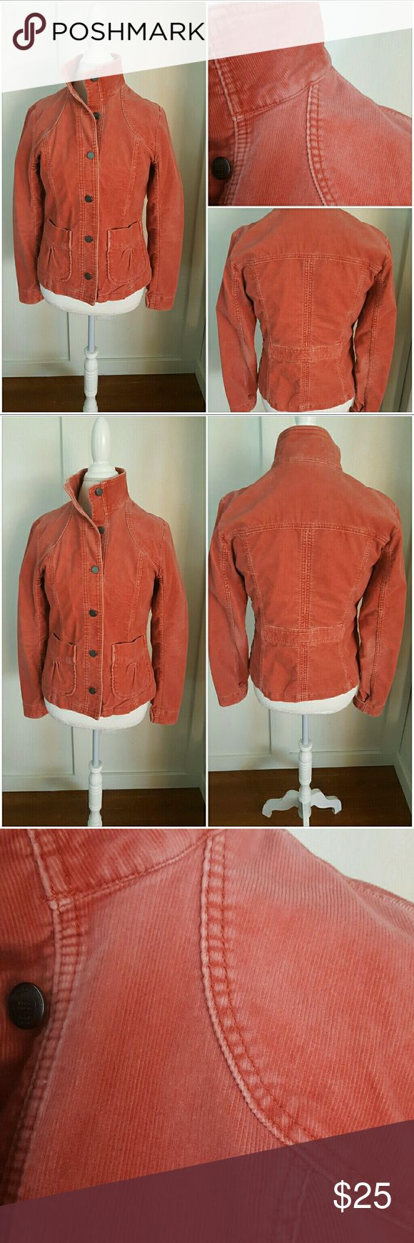 Eddie Bauer Medium Faded Red Coduroy Jacket Eddie Bauer medium faded red jacket. Faded as part of the design - specially dyed. Coduroy. Long sleeves. Button down. Two front pockets. Pre-owned and in good condition. 83% Cotton 16% Polyester 1% Spandex Eddie Bauer Jackets & Coats