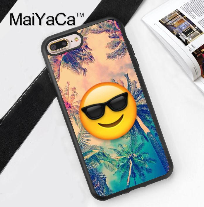 >> Click to Buy << Sun Glasses Emoji Summer Palm Trees Soft Rubber Mobile Phone Cases OEM For iPhone 6 6S Plus 7 7 Plus 5 5S 5C SE 4 4S Cover Shell #Affiliate