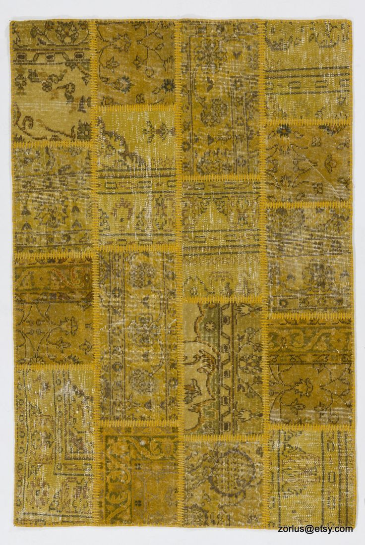 4' x 6' (122 x 183 cm) Yellow Handmade Turkish Patchwork Rug by Zorlus on Etsy
