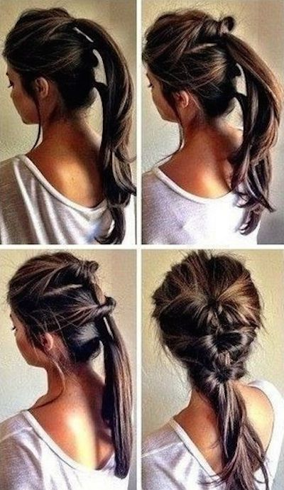 Thread together three ponytails. | 21 Hairstyles You Can Do In Less Than Five Minutes