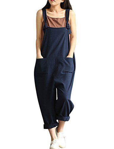 ca83ecc7835 Yeokou Women s Loose Baggy Linen Wide Leg Jumpsuit Rompers Overalls Harem  Pants