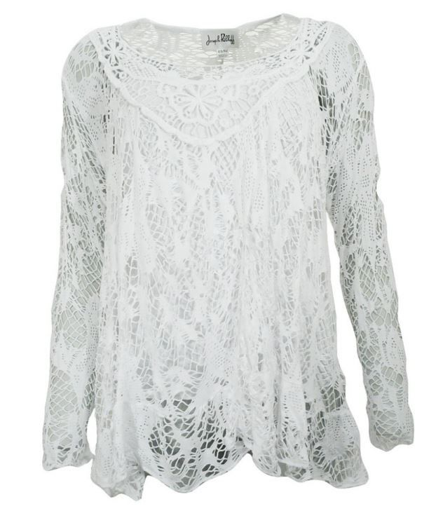 Joseph Ribkoff Top. White Lace Boho style