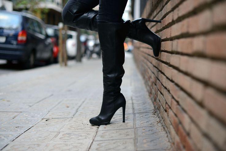 Botas altas de tacón MGDM piel negra Mas34 www.mas34shop.com