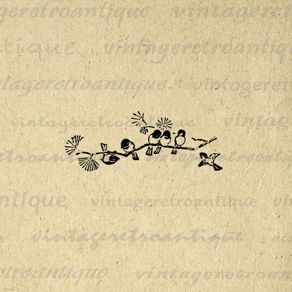 Printable Graphic Birds on Branch Antique by VintageRetroAntique, $3.50