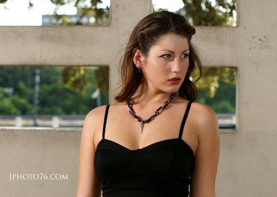 Sexy Black and Silver Cornicello Necklace  Bada by KellyEMarra, $20.00