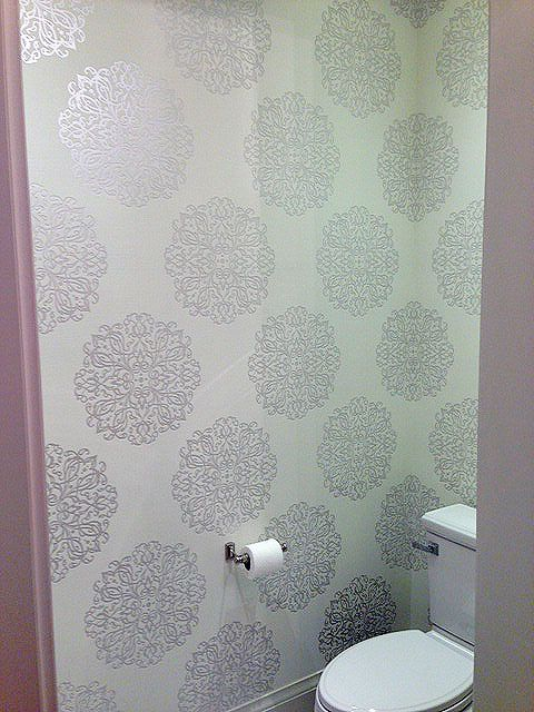 Ronit's new powder room with wallpaper by Walls Republic