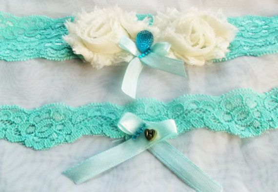 Aqua Blue Bridal Garter Set /Personalized by WeddingMarisabel