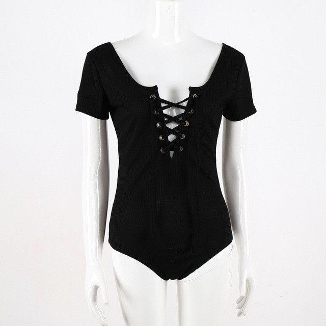 Lace Up Skinny Sexy Bodysuit Women Deep V-Neck Short Sleeve Bandage Summer Women Rompers High Waist Cotton Ladies Bodysuits