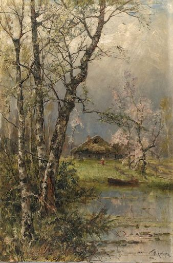 Yuliy Yulevich Klever - Spring Landscape with Apple-blossoms; Dimensions: 21 x 14.1/8in. (53.5 x 36cm.)