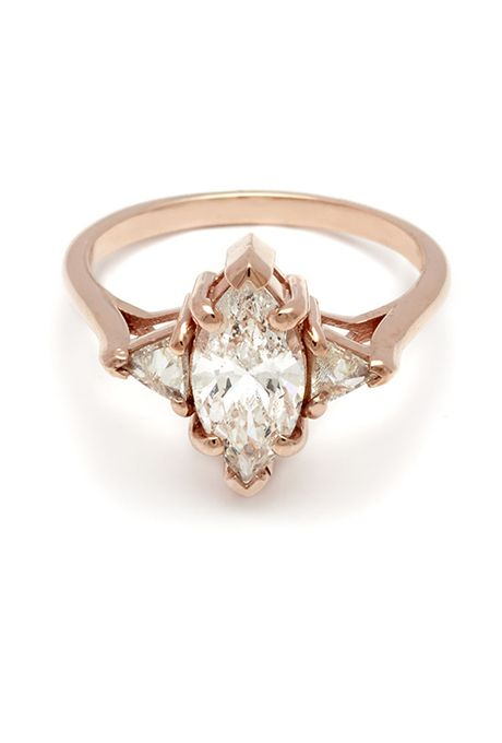"""Anna Sheffield. """"Bea"""" white marquise engagement ring, $10,500, Anna Sheffield"""