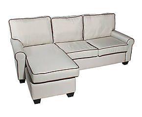 Divano a 4 posti con chaise longue destra crema - 203x85x145 cm