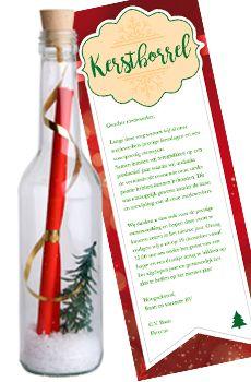 Flessenpost - Originele uitnodigingen voor je x-mas party, kerstdiner of kerstborrel...
