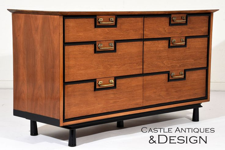 A large chest of drawers with eclectic geometric moulding accents sitting on top of small feet there's no mistaking this piece as Mid-century Modern. Check out more of our antique and vintage furniture and home decor by following the link. Our showroom is located in North Hollywood, CA.