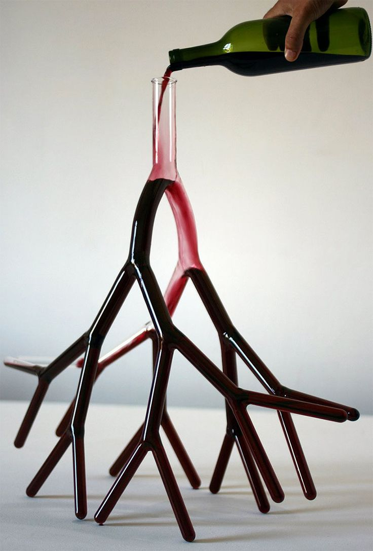 10 Unique Modern Wine Decanters // This hand blown glass wine decanter was designed to resemble the look of blood vessels and root systems.