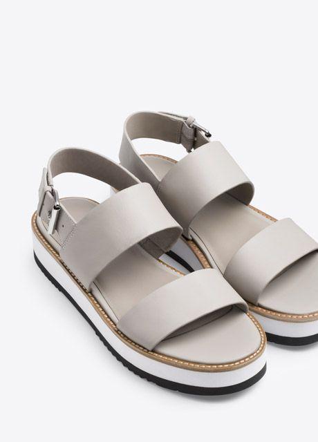 Mana Leather Flatform Sandal   Vince