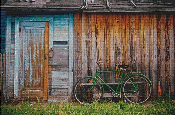 Green Bicycle PDF Cross Stitch Pattern by XSquaredCrossStitch, $6.00