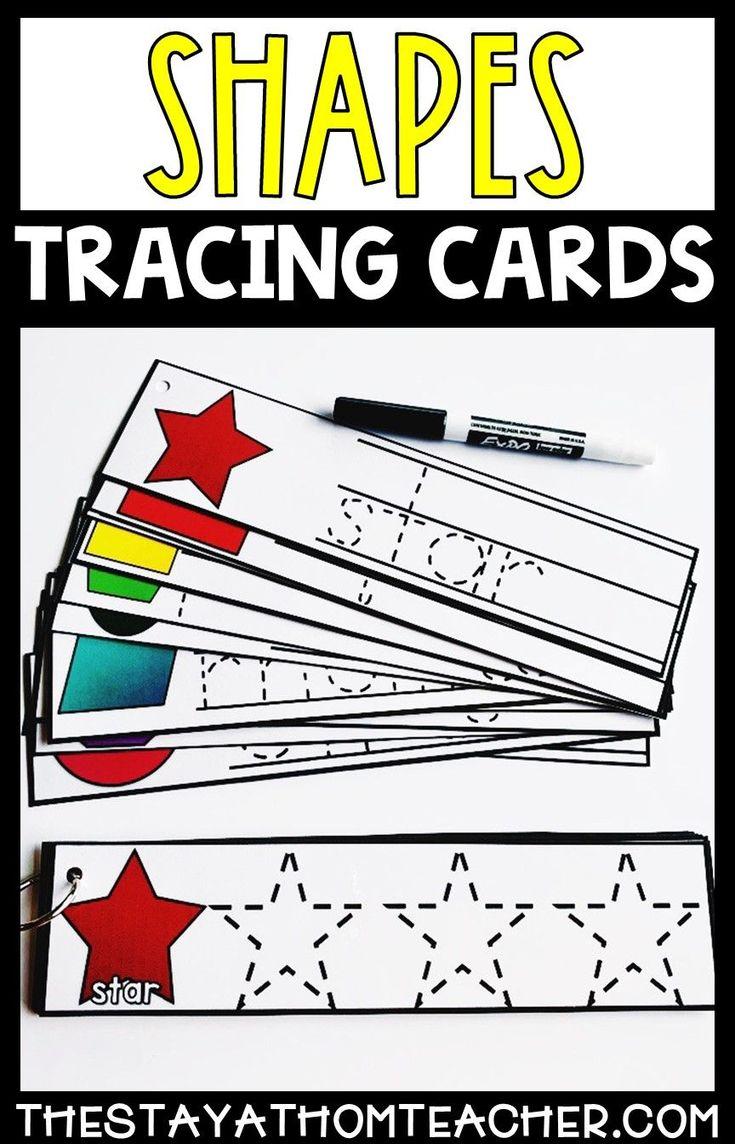 Combine fine motors skills, handwriting practice and common preschool skills with these dry erasable shape tracing cards. #preschool #handwriting