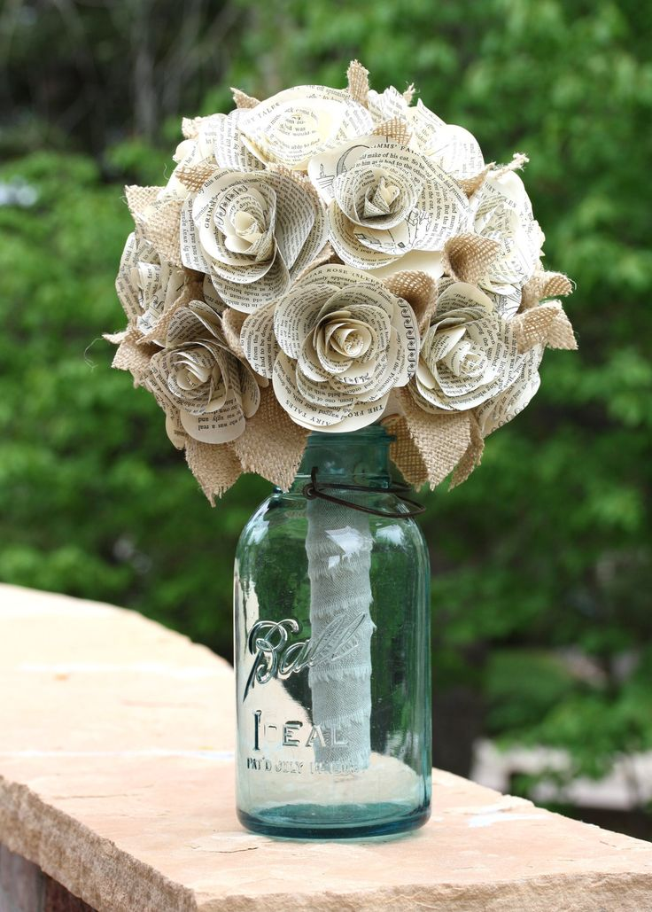 Custom Book Rose Bridal Bouquet by HiButterfly on Etsy
