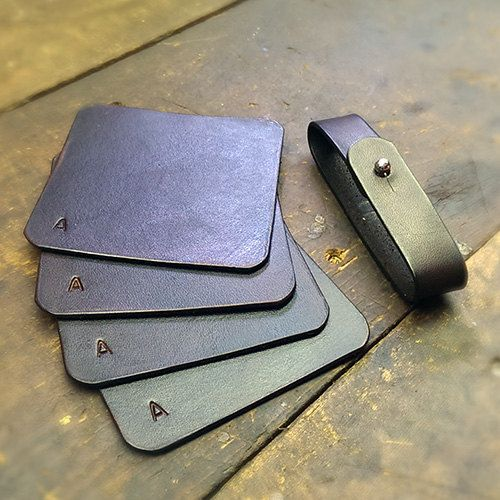 Leather Coasters by HemmerLeather on Etsy