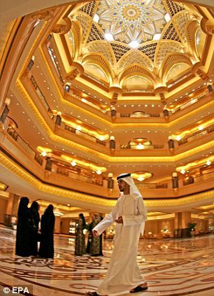 Built at a cost of $3billion, the Emirates Palace in Dubai is one of the world's most luxurious hotels