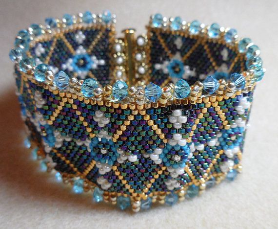 "Czarina Bracelet - Winner of March Etsy Beadweavers ""Faberge Egg"" contest"