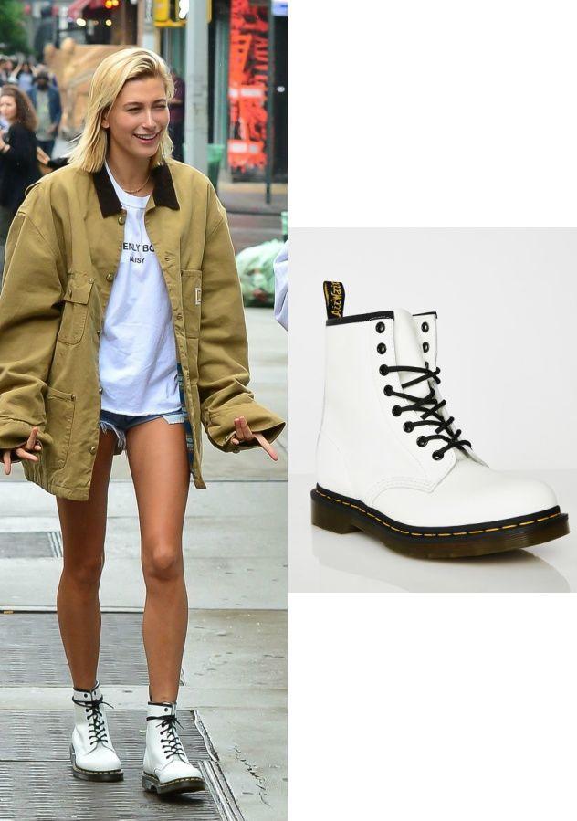 Shoe Obsession Hailey Baldwin\u0027s White Doc Martens \u2013 Angel