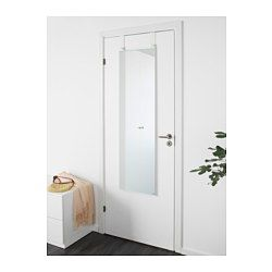 IKEA - GARNES, Over-the-door mirror, , Out of wall space? Don't worry, this mirror hangs on your door.Suitable for use in most rooms, and tested and approved for bathroom use.Safety film  reduces damage if glass is broken.