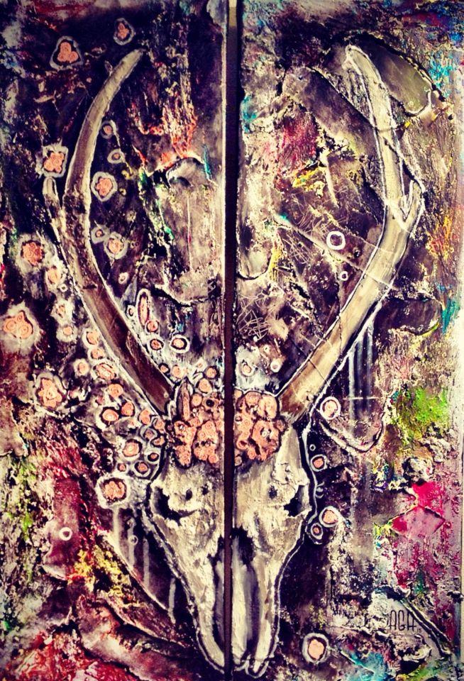 #AGA #agaartist #art #artist #antlers #work #acrylic #artwork #skull #bone #deer #flowers #pink #paint