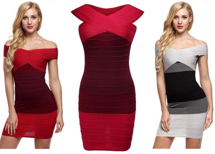 Vestito da donna bandage rosso nero grigio abito corto smanicato moda righe sexy