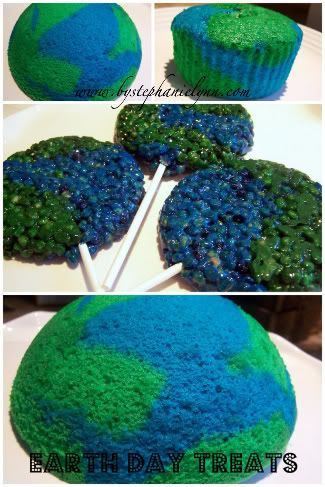 What a cool way to celebrate Earth Day - by making a fun earth cake!: Treat Idea, Cupcake, Cakes, Food, Krispie Treats, Earth Day, Rice Krispie, Earthday