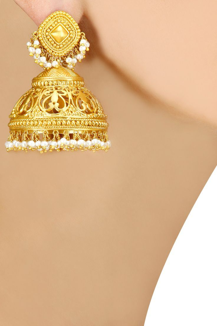 Gold plated jumkas with pearls