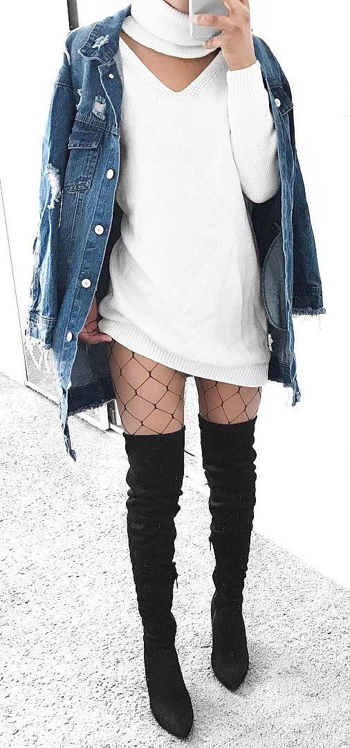 sweater dress + denim + fishnet