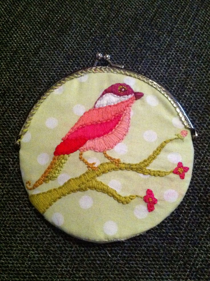 Embroidered bird coin purse