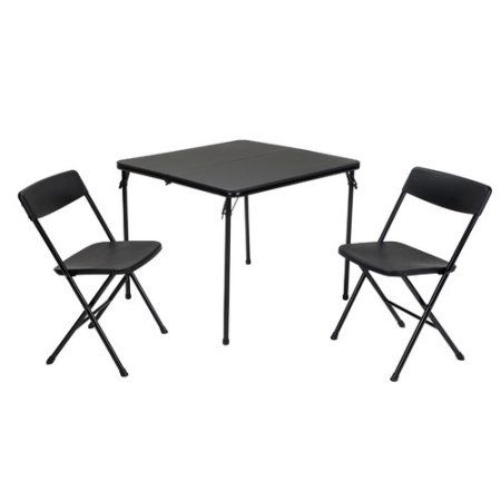 Cosco 3-Piece Indoor Outdoor Center Fold Table and 2 Chairs Tailgate Set, Multiple Colors, Black