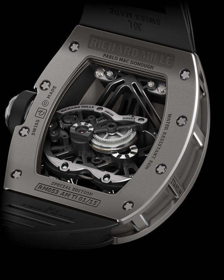 The exposed tourbillon in the back of the Richard Mille RM 053 polo watch is incredible.