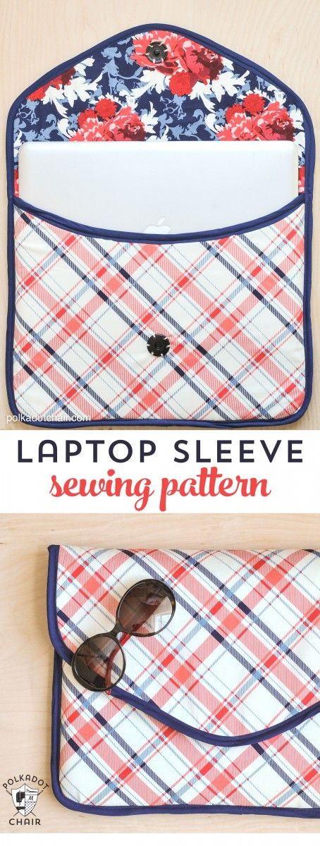 Free Sewing Pattern for a Padded Laptop Sleeve Clutch or laptop bags on polkadotchair.com