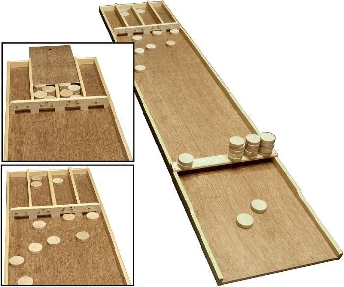 Holländisches Fabrikat ! Spielbrett aus Holz, Größe: ca. 200 x 39,5 cm mit Schubfach zur Aufbewahrung der Schusssteine. inkl. 30 Holzspielsteine in ca. 51 mm Durchmesser.