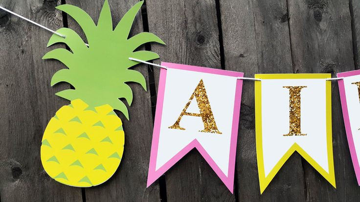 Pineapple Banner, Pineapple Birthday Banner, Pineapple Party Banner, Pineapple Bachelorette Banner, Luau Banner, Pineapple Wedding Banner by CraftyCue on Etsy